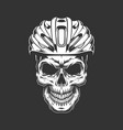 vintage cyclist skull in helmet concept vector image vector image