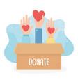 volunteering help charity donate hands with vector image