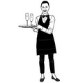 waitress carrying a champagne vector image vector image
