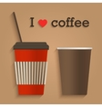 Disposable coffee cup flat design icon concept vector image