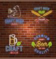 set of neon signboard craft beer bar vector image