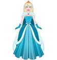 Snow Princess In Blue Dress And Cloak vector image