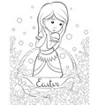 a children coloring bookpage a cartoon girl in a vector image vector image