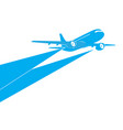 airplane blue silhouette on white background vector image vector image