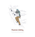 alpinist using mountaineering tools and equipment vector image vector image
