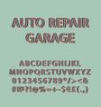 auto repair garage vintage 3d alphabet set vector image