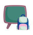 back to school education chalkboard and backpack vector image