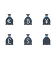 bags with money related glyph icon vector image vector image