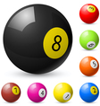 billiard balls out of american billiards vector image
