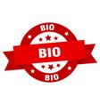 bio ribbon bio round red sign bio vector image vector image