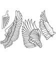 black and white wing icons vector image