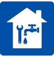 blue plumbing symbol with house vector image