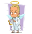 Cartoon attractive young blond angel vector image vector image