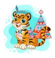 cartoon character tribal tiger vector image