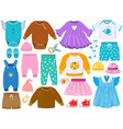 cartoon children fashion outfits clothes shoes vector image vector image