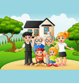 cartoon happy family members in the front yard of vector image