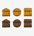 cartoon wooden door assets for ui game vector image