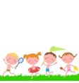 Children running on the grass with items for rest vector image vector image