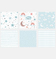 clouds stars kids seamless pattern set of vector image vector image