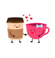 coffee cups love flirt flat style vector image vector image