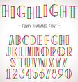 Colorful Alphabet with highlighter lines vector image