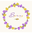 crocus wreath 1 purple yellow vector image vector image