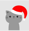 cute cat face in red santa hat merry christmas vector image vector image