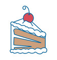 delicious cake portion with cherry vector image vector image