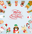 dogs wearing christmas costume frame vector image vector image