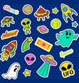 Fashion patch badges Pop art UFO set Stickers vector image vector image
