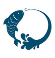 fish jumping hook vector image
