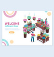 flower shop isometric concept vector image vector image