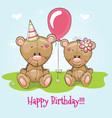 greeting card two cute cartoon bears vector image