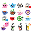 Kawaii tea tea pot ice tea cute characters vector image vector image