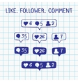 Like follower comment icons on notebook sheet vector image