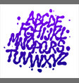 liquid font with splashes alphabet vector image vector image