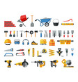 mason hand tools big flat icon collection of hand vector image