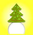 Merry Christmas ribbon paper green vector image vector image