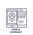 mobile interface line icon concept mobile vector image vector image