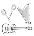 musical instruments set on white background vector image vector image