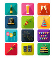 new year party icons vector image vector image