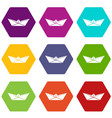 origami boat icons set 9 vector image