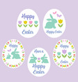 pastel happy easter eggs with tulips and bunnies vector image