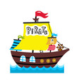 pirate sailing vessel icon vector image vector image
