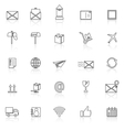 Post line icons with reflect on white background vector image vector image
