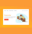 programming landing page template online web page vector image