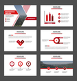 Red presentation templates Infographic elements vector image vector image