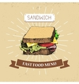 Sandwitch fast food in vintage vector image vector image
