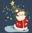 santa claus with a fir tree vector image vector image