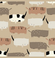 seamless pattern with cute funny cats on beige vector image